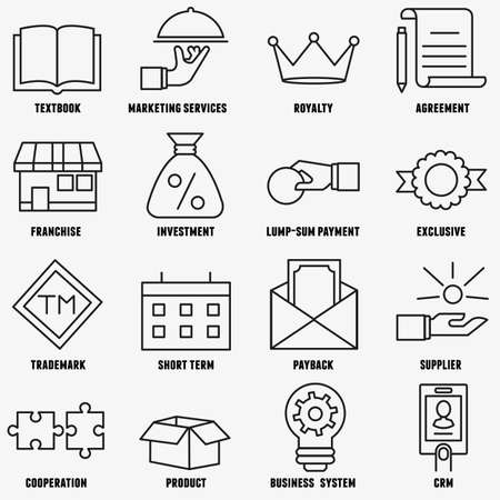 sum: Set of linear franchise icons. Franchise as a successful business model