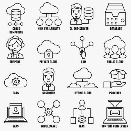 relationship management: Set of vector linear cloud computing icons part 1 vector icons