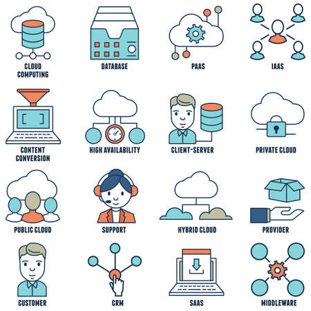 Set of flat linear cloud computing icons part 1 vector icons Illusztráció