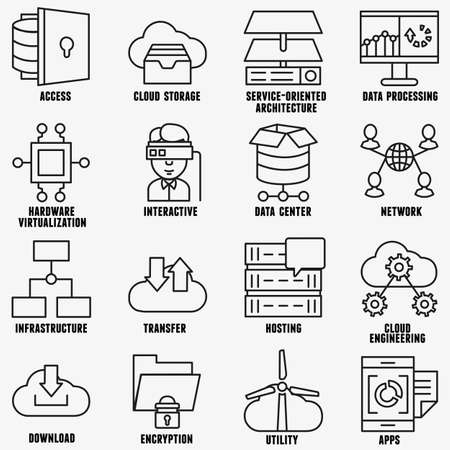 Set of vector linear cloud computing icons part 2 vector icons