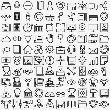 proceso: Conjunto de iconos de servicios de medios vectores lineales. 100 iconos para los iconos del vector del diseño