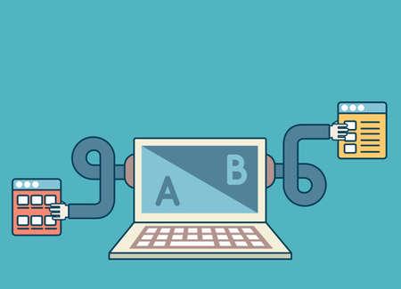 Prozess der Schaffung von Interaktion mit Website-Besucher. Optimierung von Web-Seiten und Zielseiten mit Kopie Raum Vektor-Illustration Standard-Bild - 40327608