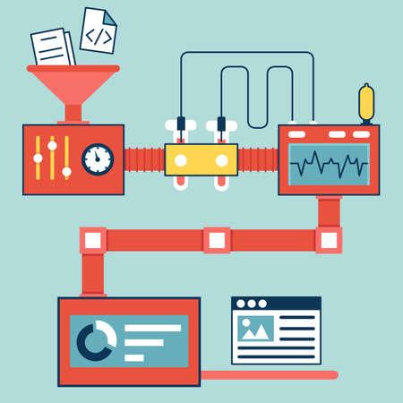 Vector platte lineaire infographics van het creëren en optimaliseren website vector illustratie