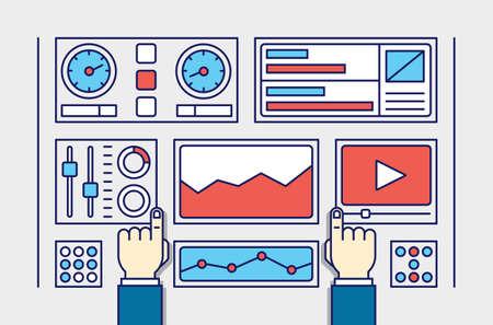 Web analytics の情報および開発の web サイトの統計のベクター イラストです。サイト訪問者のベクトル図との相互作用を作成するプロセス
