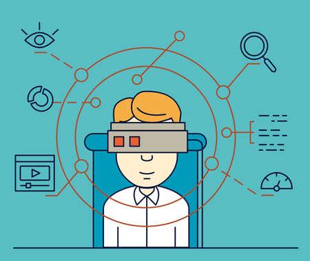 examen de la vista: Ilustración vectorial de usuario utiliza casco de realidad virtual ilustración vectorial Vectores