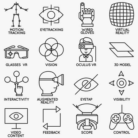 headset symbol: Set of vector linear icons of devices for virtual reality vector icons Illustration