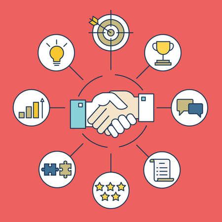 negociacion: Infografía vector de acuerdo de negocios y la interacción - ilustración vectorial
