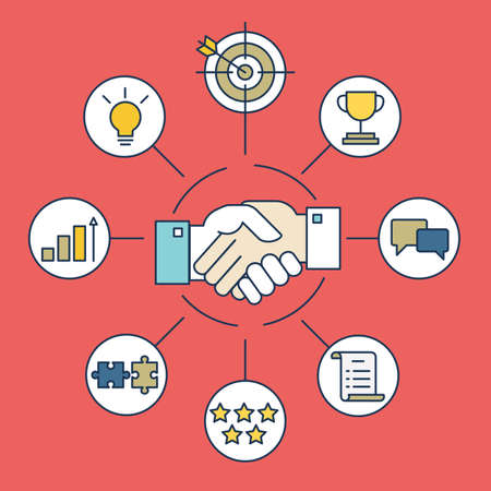 Vector infographics of business deal and interaction - vector illustration Vectores