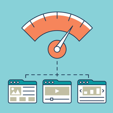 Vector illustration of web analytics information, development website statistic and optimization landing pages - vector illustration Vettoriali