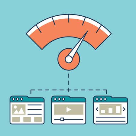 Vector illustration of web analytics information, development website statistic and optimization landing pages - vector illustration Illustration