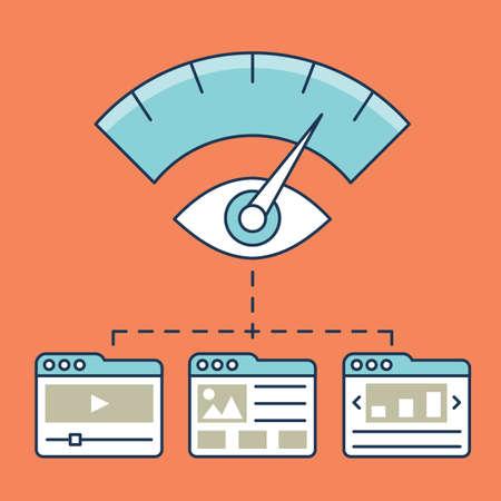 Vektorové ilustrace webové analýzy informací, vývoj webové stránky statistiky a optimalizace vstupní stránky - vektorové ilustrace