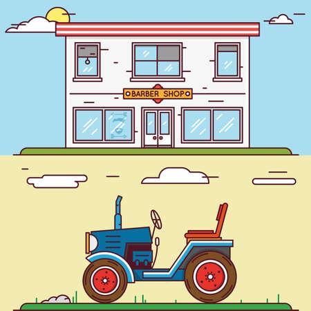 agrario: Vector lineal plana construir su pueblo - barber�a y el tractor - vector elementos para el dise�o o la infograf�a Vectores