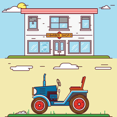 agrimotor: Vector linear flat construct your village - barber shop and tractor - vector elements for design or infographics