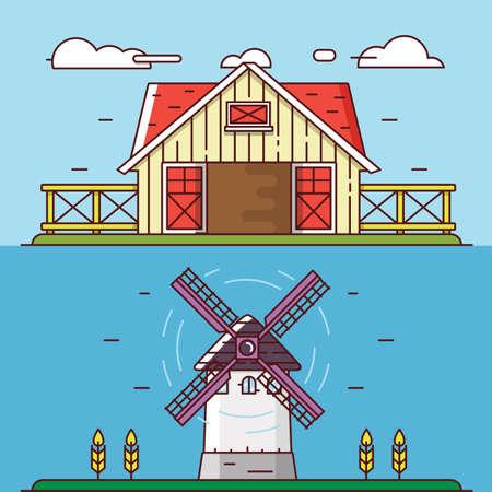 granary: Paesaggi rurali piatti lineari Vector. Granaio e mulino a vento - oggetti per la progettazione, etichette o striscioni - elementi vettoriali