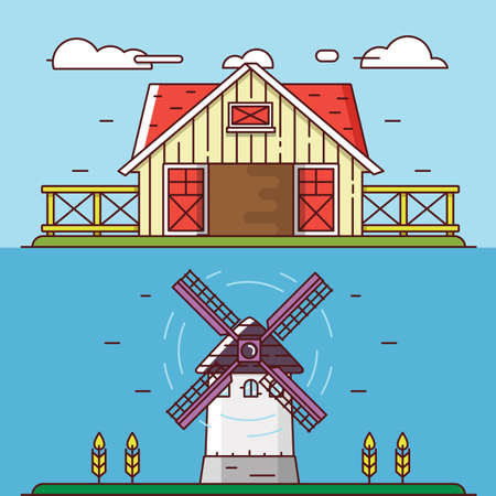 granary: Vector linear flat rural landscapes. Granary and windmill - objects for design, labels or banners - vector elements