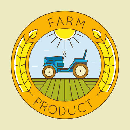 agrimotor: Farm tractor emblem logo - natural farm product - vector linear badge