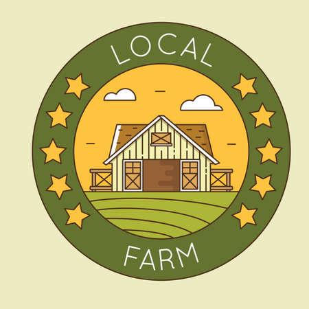 granary: Azienda agricola locale - granaio emblema logotipo pack. L'agricoltura biologica - distintivo lineare vettore