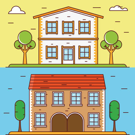 construct: Vector linear flat houses. Design elements for construct or infographics - vector elements for design