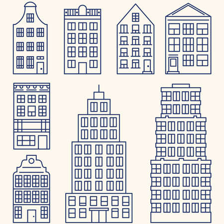 real estate sign: set of linear elements and icons with buildings and skyscrapers for construction map Illustration