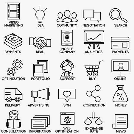 brand monitoring: Set of seo and internet service icons - part 1 - vector linear symbols