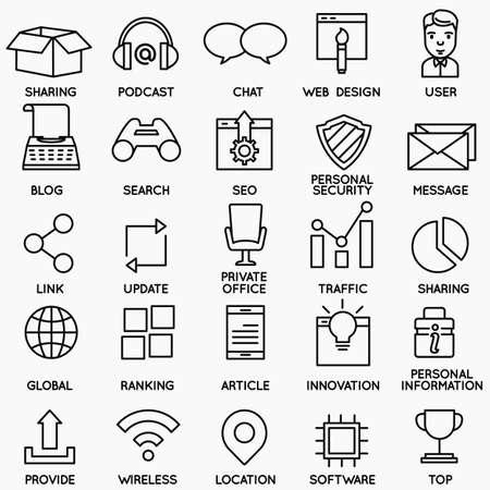Conjunto de SEO y servicios de Internet iconos - parte 2 - símbolos de vectores lineales Ilustración de vector