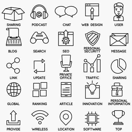 brands: Set of seo and internet service icons - part 2 - vector linear symbols Illustration