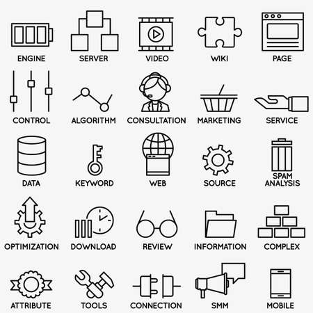 brand monitoring: Set of seo and internet service icons - part 3 - vector linear symbols