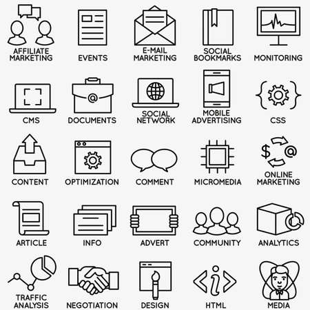 marketing team: Set of seo and internet service icons - part 4 - vector linear symbols