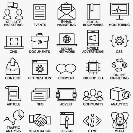 Set van SEO en internet service iconen - deel 4 - vector lineaire symbolen