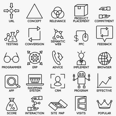 Set of seo and internet service icons - part 5 - vector linear symbols Illusztráció