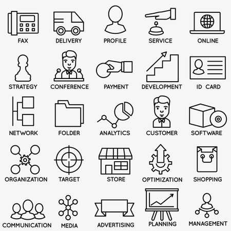 medios de comunicaci�n social: Conjunto de SEO y servicios de Internet iconos - parte 6 - s�mbolos de vectores lineales Vectores