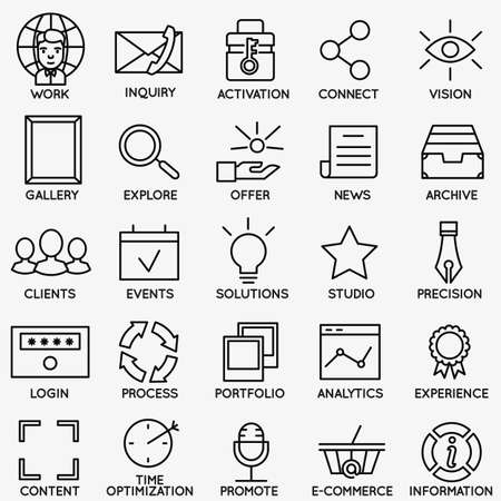 solutions icon: Set of seo and internet service icons - part 7 - vector linear symbols