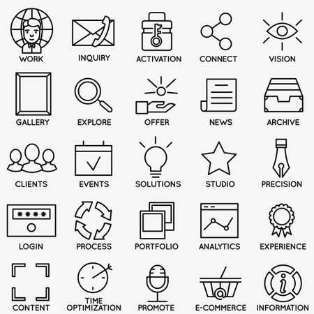 Set van SEO en internet service icons - deel 7 - vector lineaire symbolen