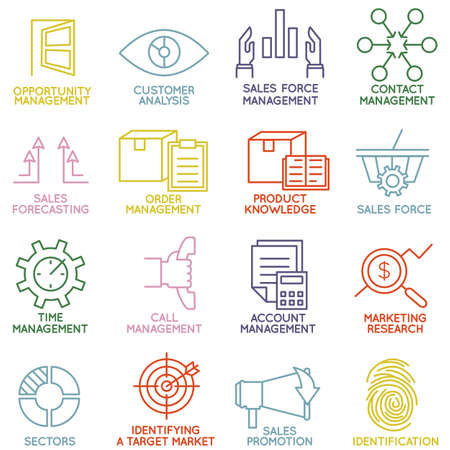 relationships: Vector Set of Linear Customer Relationship Management Icons - part 3 - vector icons