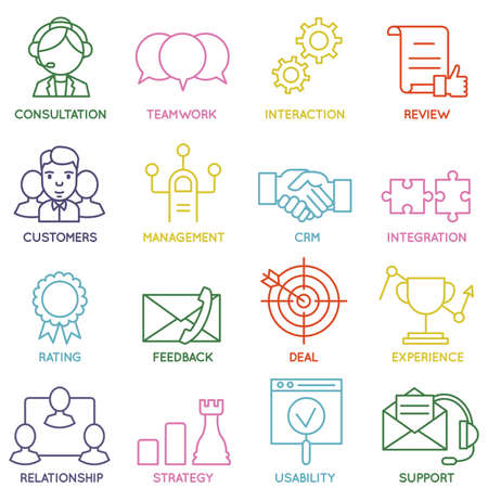 relationship management: Vector Set of Linear Customer Relationship Management Icons - part 1 - vector icons