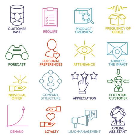 Vector Linear Customer Relationship Management Icons - deel 2 - vector iconen