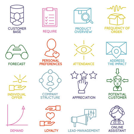 relationship management: Vector Set of Linear Customer Relationship Management Icons - part 2 - vector icons Illustration
