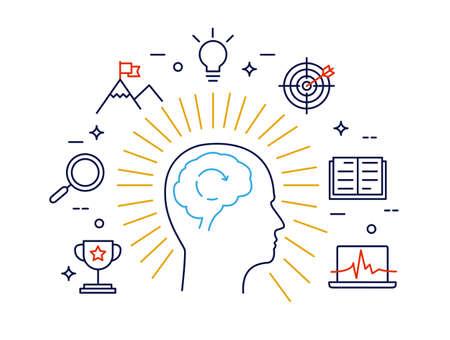 mente humana: Concepto lineal del proceso de la mente humana, el pensamiento del cerebro humano y oportunidades. Moderno vector pictograma concepto Vectores