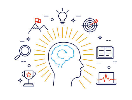 Linear concept of human mind process, human brain thinking and opportunities. Modern vector pictogram concept