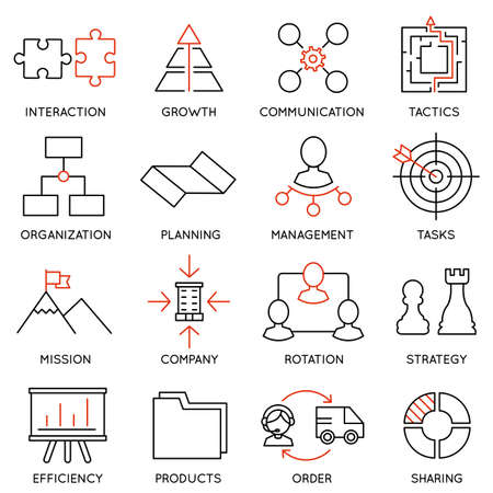 strategies: Set linear icons of business management, strategy, career progress and business people organization. Linear infographic vector logo pictograms - part 1