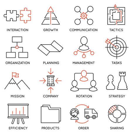 Stellen lineare Symbole der Unternehmensführung, Strategie, Karrierefortschritt und Geschäftsleute Organisation. Linear Infografik Vektor-Logo Piktogramme - Teil 1