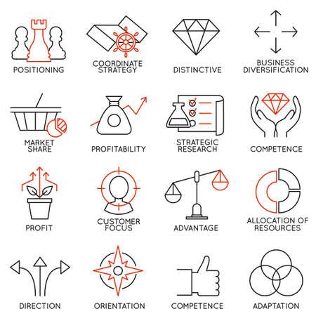 Icônes linéaires ensemble de la gestion d'entreprise, la stratégie, la progression de carrière et les gens d'affaires organisation. Linéaires infographiques vecteur logo pictogrammes - partie 3 Banque d'images - 44284638