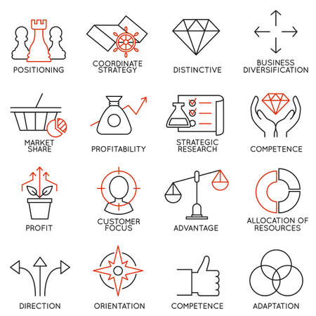 Set linear icons of business management, strategy, career progress and business people organization. Linear infographic vector logo pictograms - part 3 Vettoriali