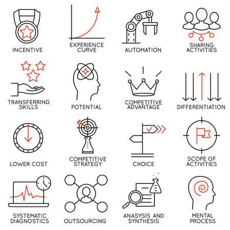 eficiencia: Establecer iconos lineales de gestión de negocio, estrategia, desarrollo de la carrera y la organización de personas de negocios. Pictogramas vector infográficas lineales - parte 4
