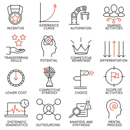 strategies: Set linear icons of business management, strategy, career progress and business people organization. Linear infographic vector pictograms - part 4
