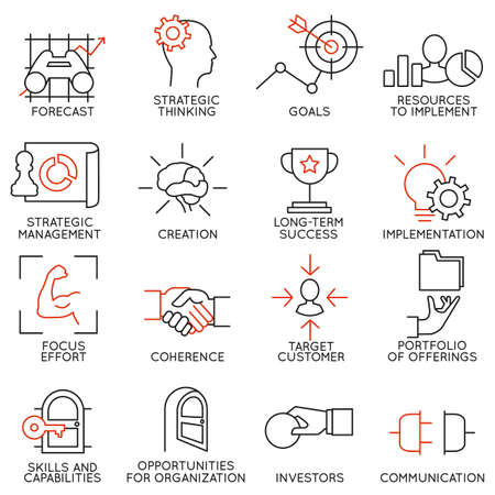 planificacion estrategica: Establecer iconos lineales de gestión de negocio, estrategia, desarrollo de la carrera y la organización de personas de negocios. Lineales infográficas logo vector pictogramas - parte 2