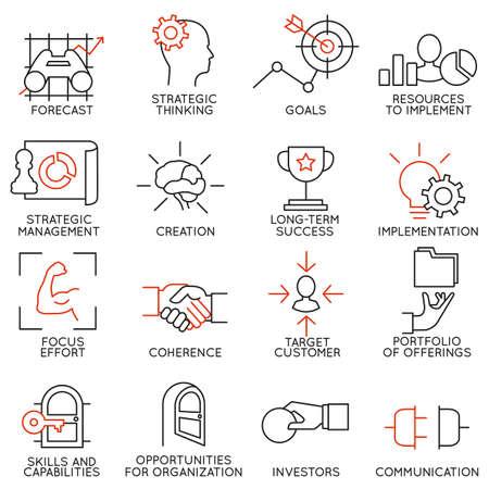 Stellen lineare Symbole der Unternehmensführung, Strategie, Karrierefortschritt und Geschäftsleute Organisation. Linear Infografik Vektor-Logo Piktogramme - Teil 2