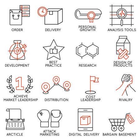 벡터 비즈니스 관리, 전략, 경력 발전과 비즈니스 프로세스와 관련된 16 개의 아이콘을 설정합니다. 모노 라인 무늬와 인포 그래픽 디자인 요소 - (8)