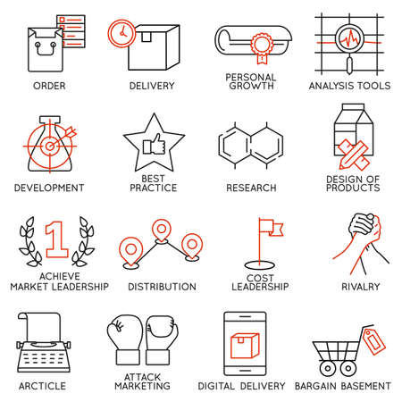 communication capability: Vector set of 16 icons related to business management, strategy, career progress and business process. Mono line pictograms and infographics design elements - part 8