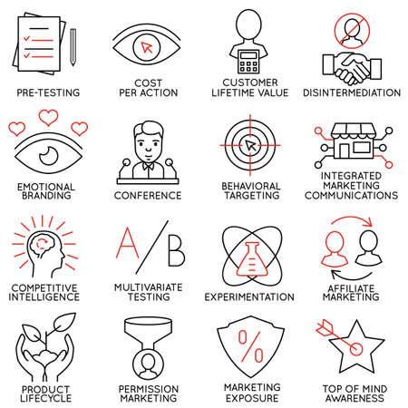 Wektor zestaw 16 ikon odnoszących się do zarządzania przedsiębiorstwem, strategii, rozwoju kariery i procesu biznesowego. Piktogramy Mono line i infografiki elementy projektu - część 9